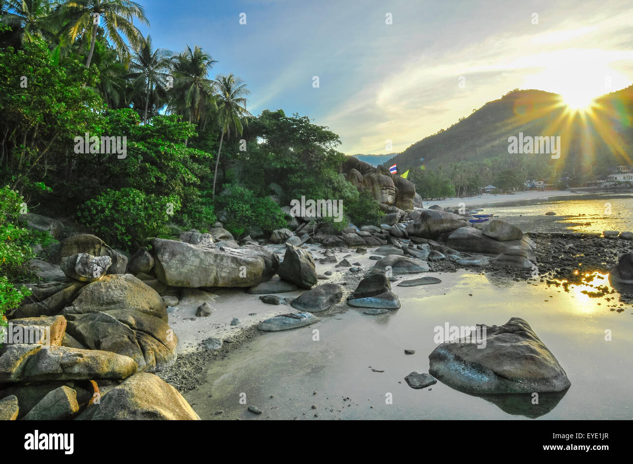 Limestones panoramic tropical beach with coconut palm. Koh Samui, Thailand, Asia - Stock Image