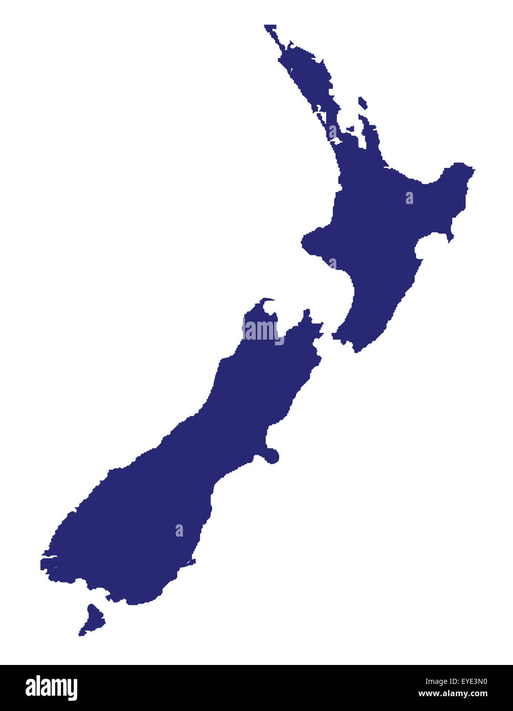 Outline map of New Zealand over a white background - Stock Image