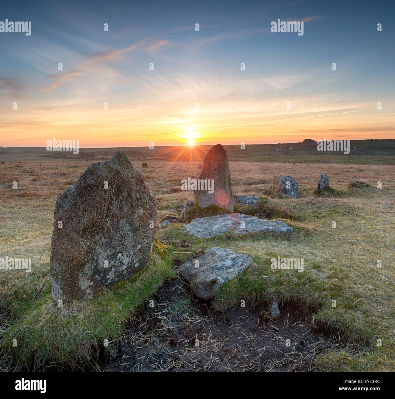 Stunning sunset over the Stannon Stone Circle on Bodmin Moor in Cornwall - Stock Image