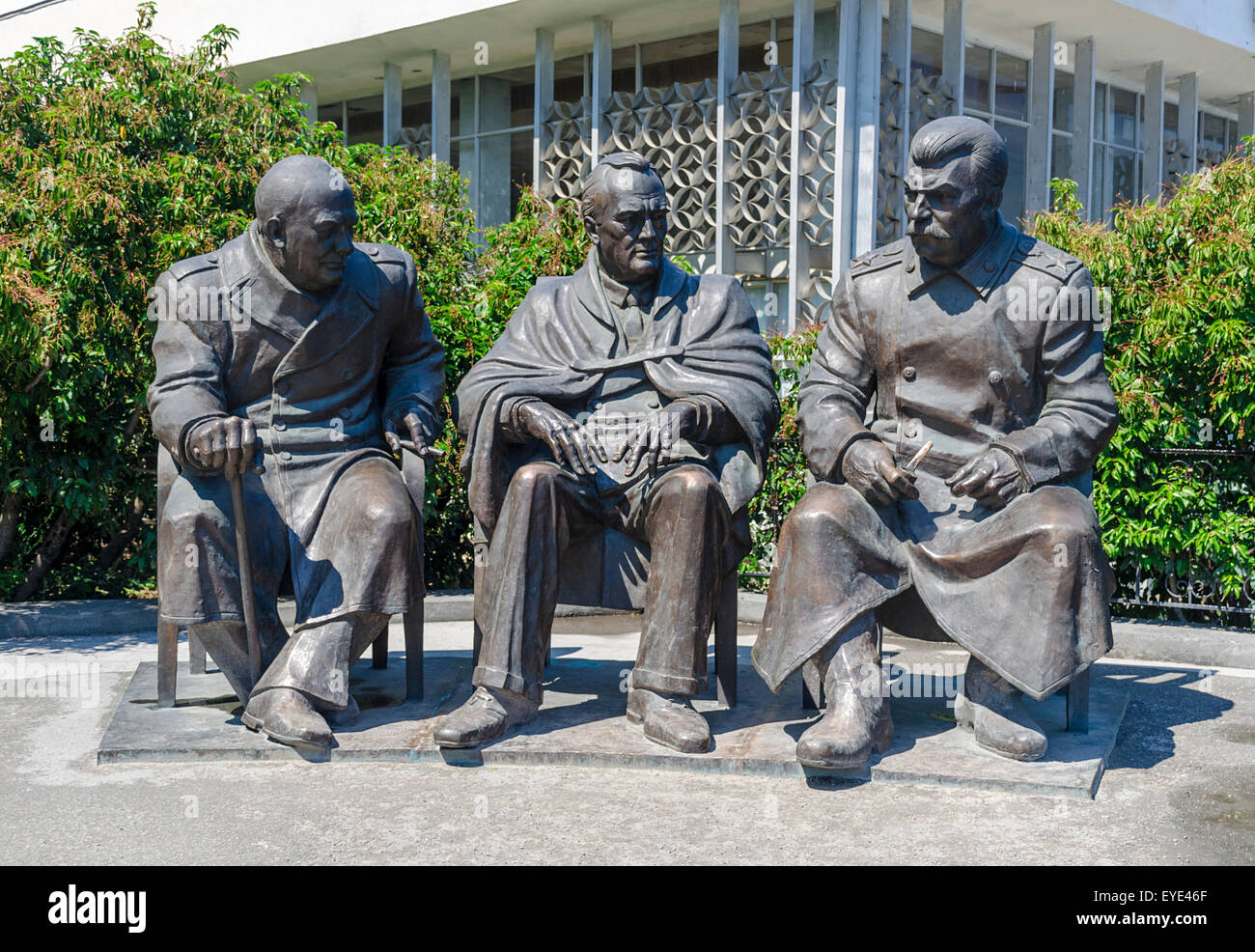 Yalta, RUSSIA - July 3: Opening of the monument in honor of the 70th anniversary of the Yalta Conference, the leaders - Stock Image