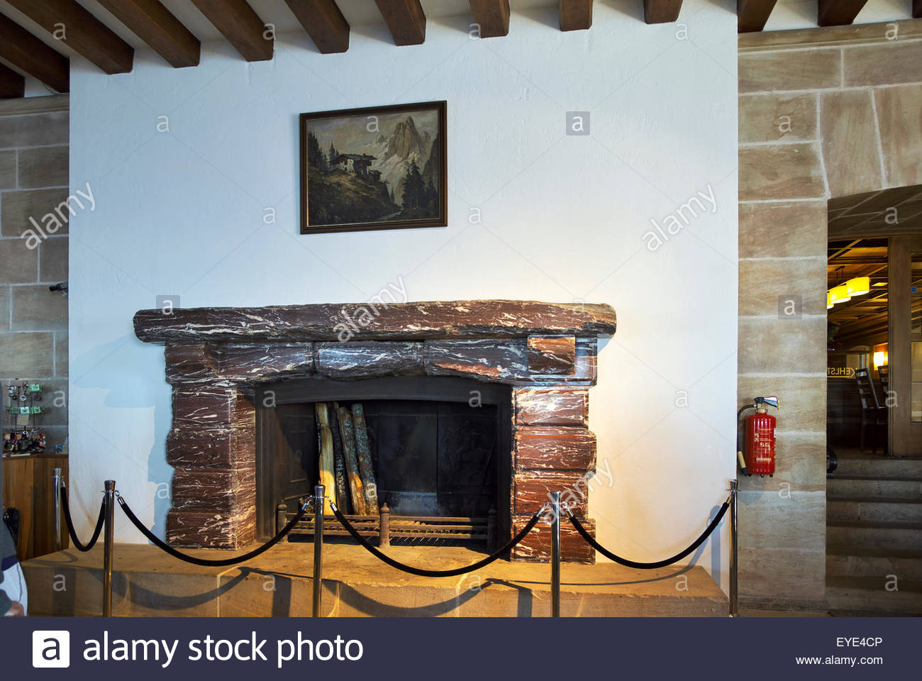Fireplace in the interior of das Kehlsteinhaus, also known as Hitler's Eagle's Nest. - Stock Image