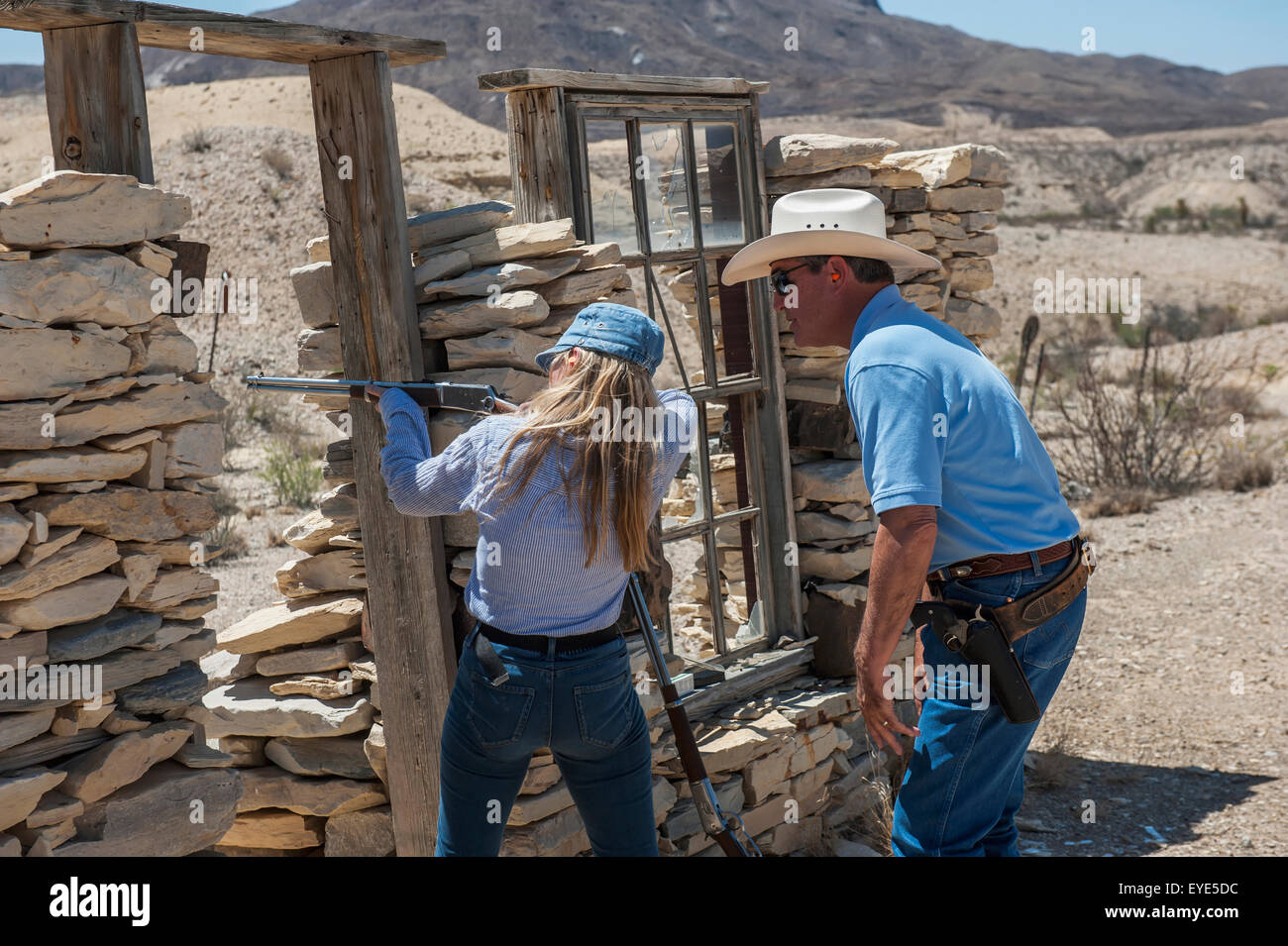 Accuracy,Aiming,America,Arid Climate,Big Bend - Stock Image