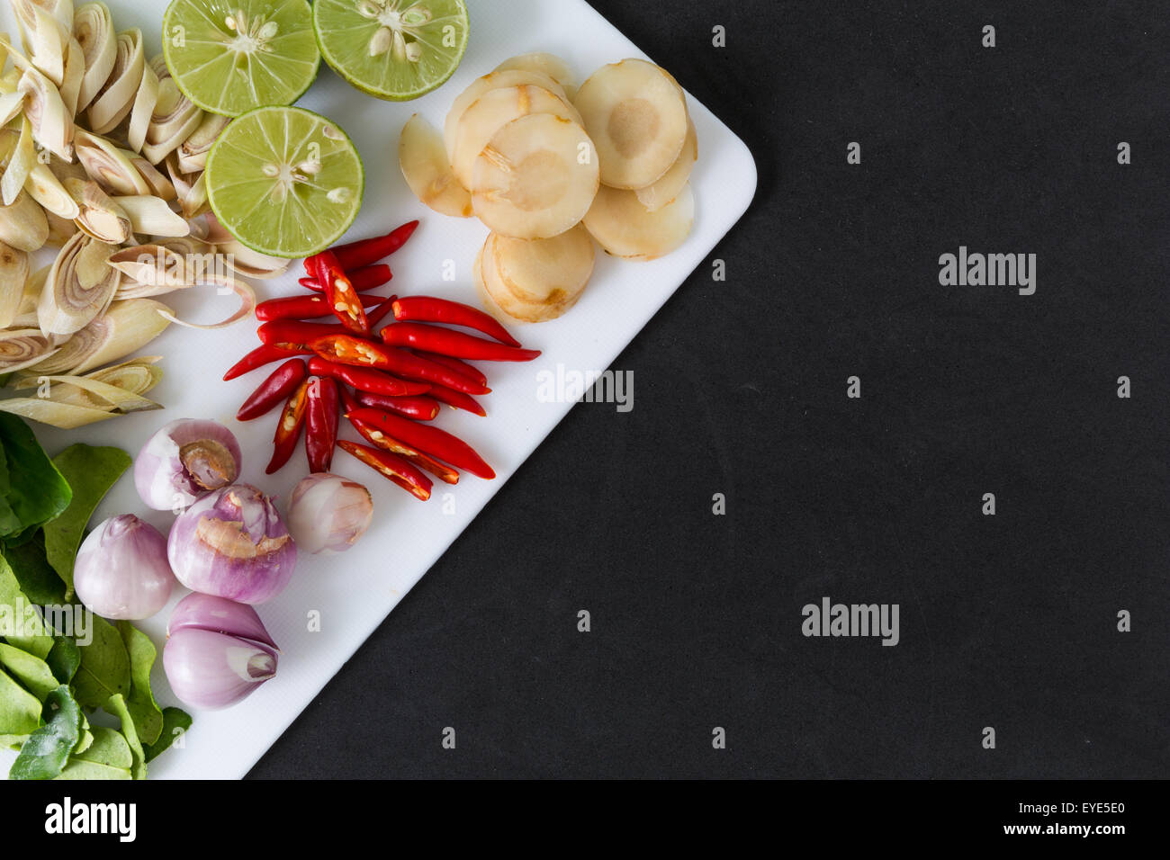 Various kinds of ingredients for Thai dish : Tom Yum - Stock Image
