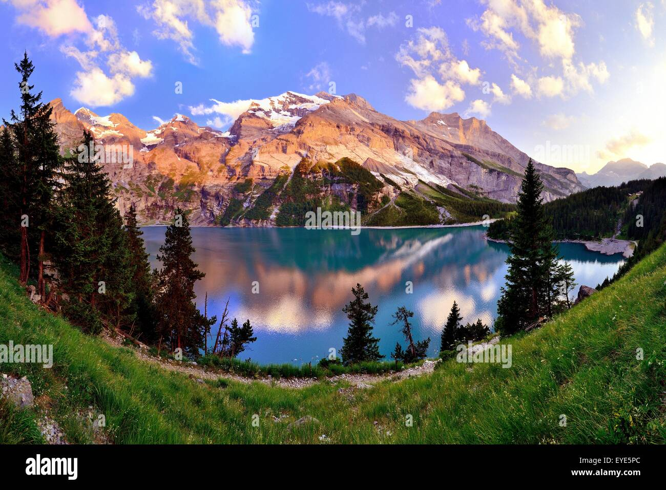 Mountains in the evening light at the Oeschinensee lake, UNESCO World Heritage Site, Kandersteg, Canton of Bern, - Stock Image