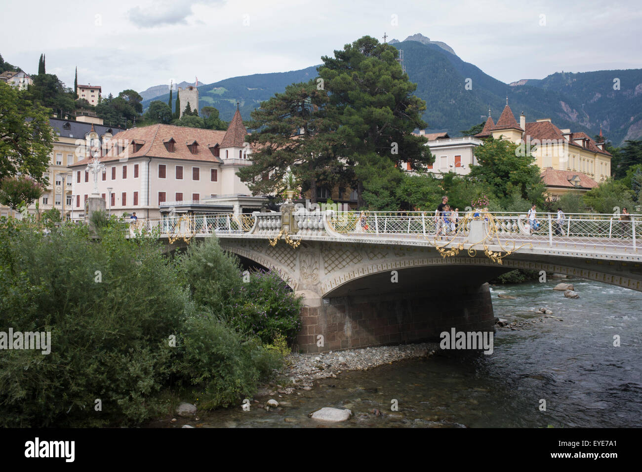Ponte della Posta (Bridge) over the Passer River, in the South Tyrolean town of Meran-Merano, best known for its - Stock Image