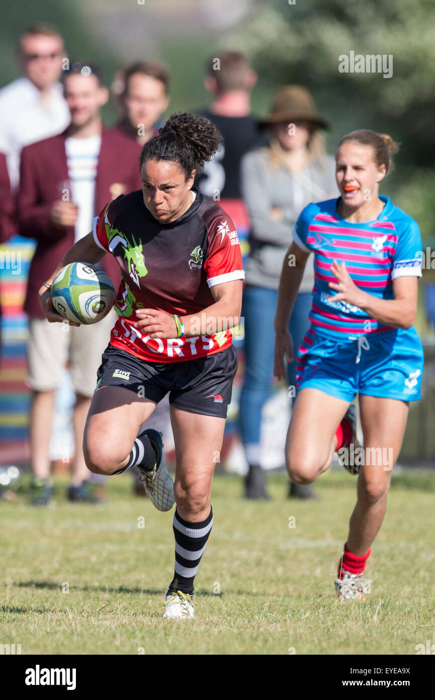 Female rugby players in action. - Stock Image