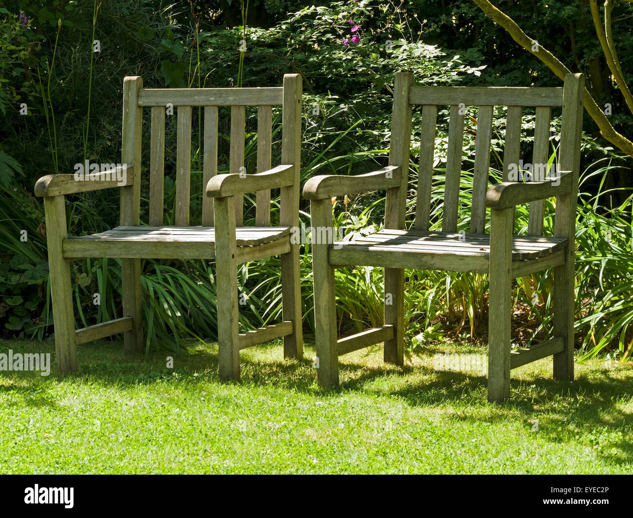Two Sunlit, Wooden Garden Seats On Grass Lawn, Barnsdale Gardens, Rutland,  UK