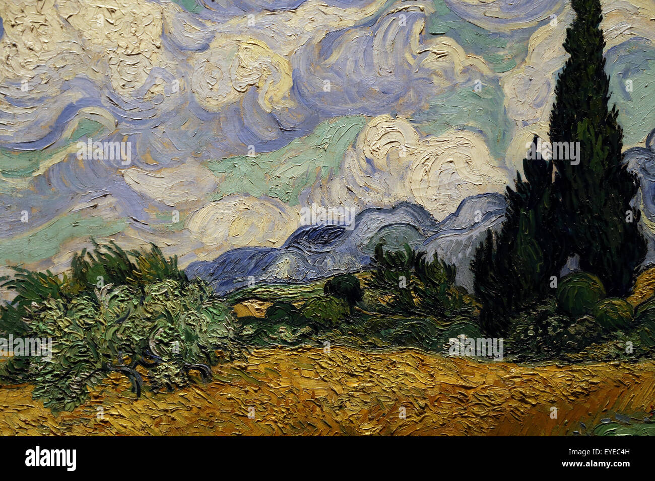 Vincent van Gogh (1853-1890). Dutch painter. Wheat Field with Cypresses, 1889. Oil on canvas. - Stock Image