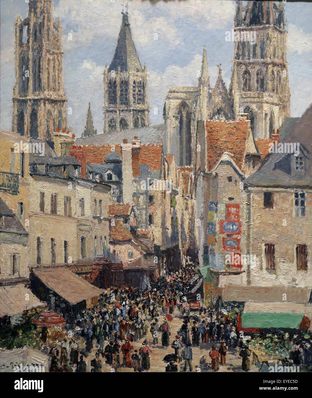 Camile Pissarro (1830-1903). French painter. Rue de l'Epicerie, Rouen (Effect of Sunlight), 1898. Oil on canvas. - Stock Image