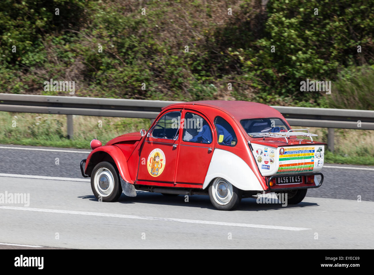 Old Citroen 2CV with boot extension - Stock Image