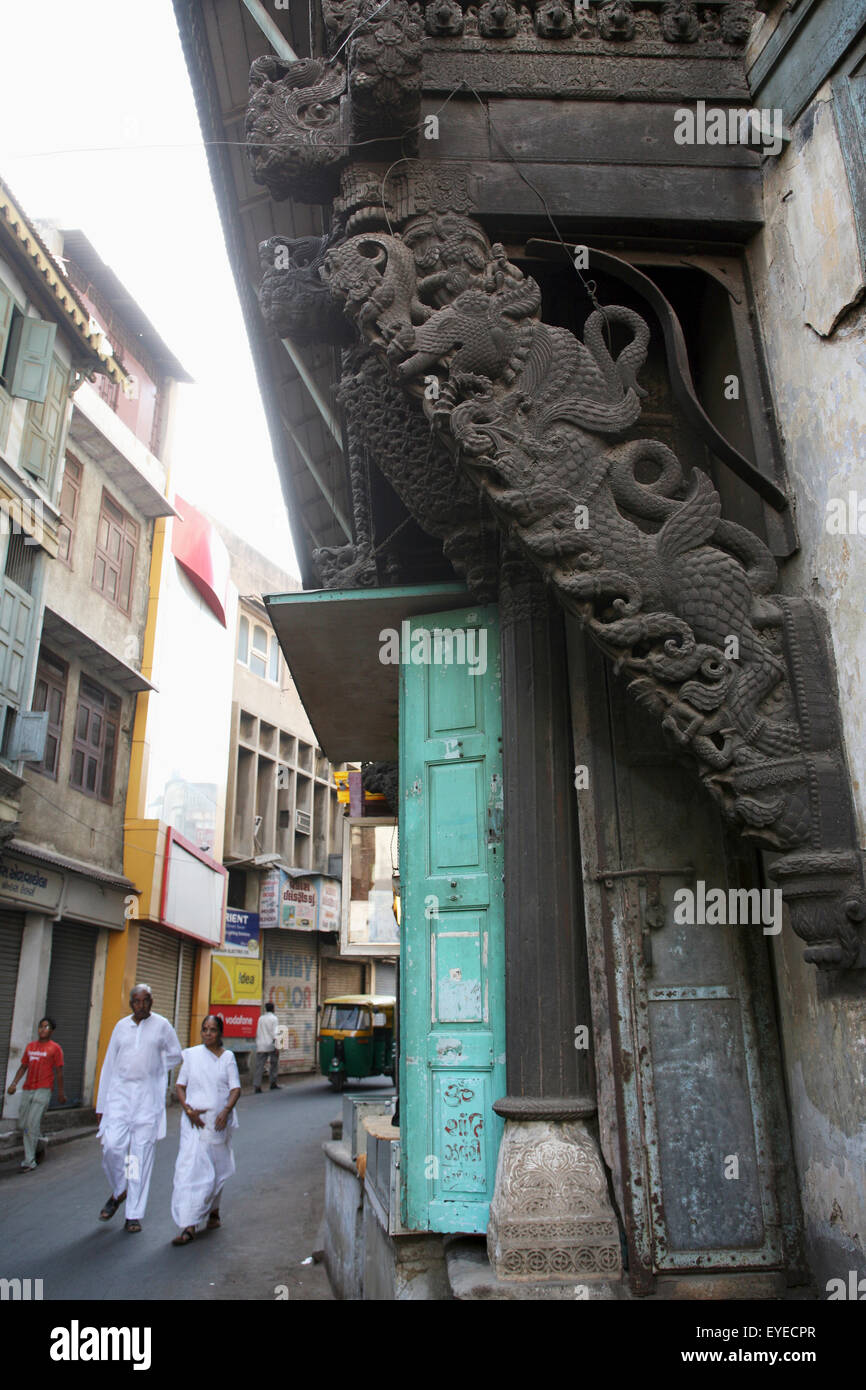 India, Gujurat State, Architectural Feature Of Street Building; Ahmedabad City - Stock Image