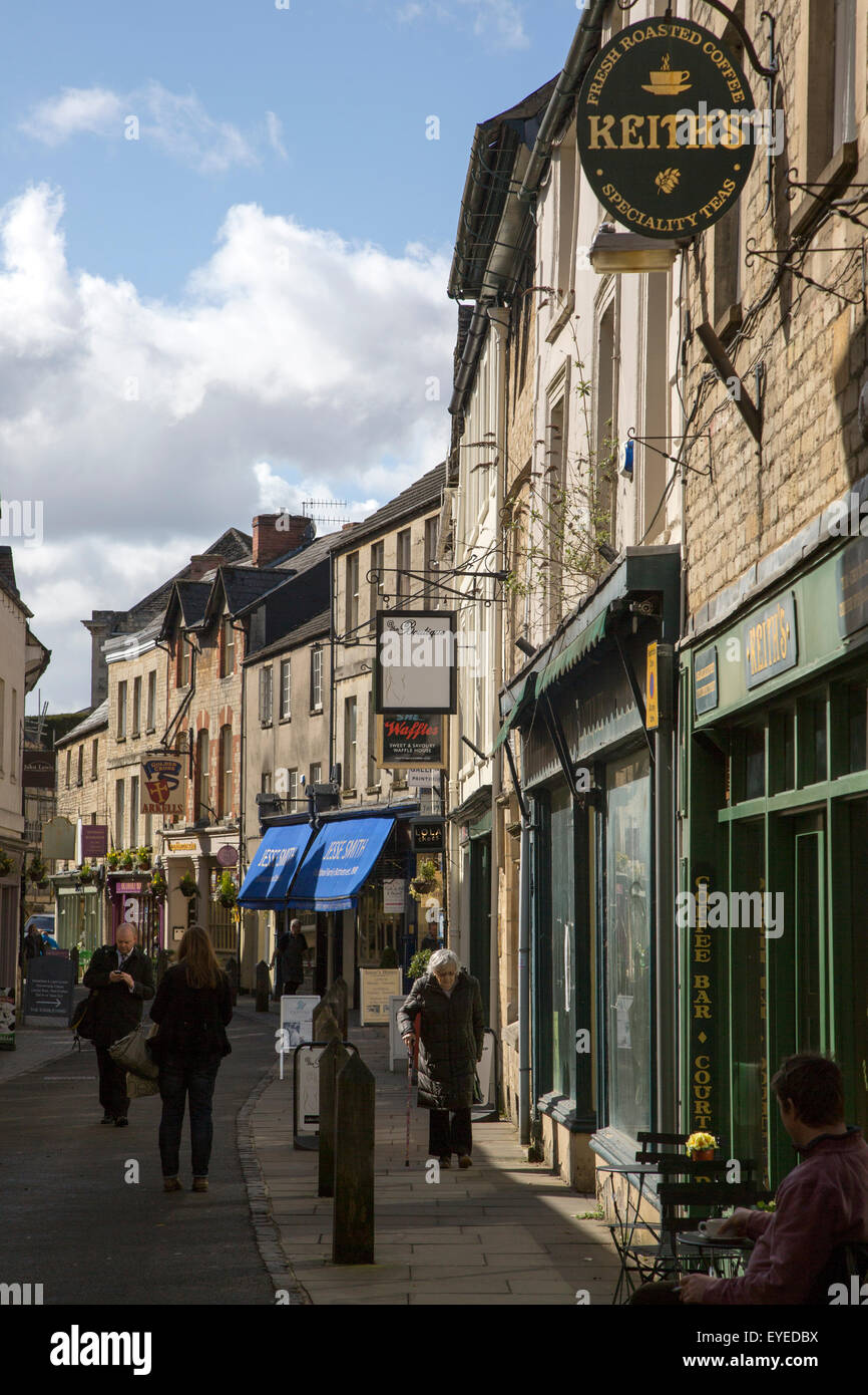 Narrow shopping street in town centre, Cirencester, Gloucestershire, England, UK, - Stock Image