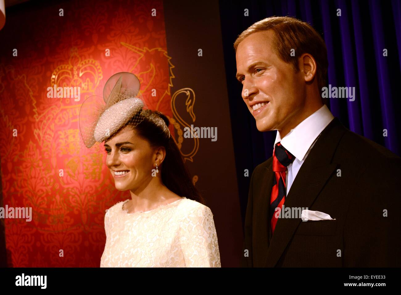 Wax works figures of Prince William and Kate Middleton in Madame Tussauds Tokyo, Japan. - Stock Image