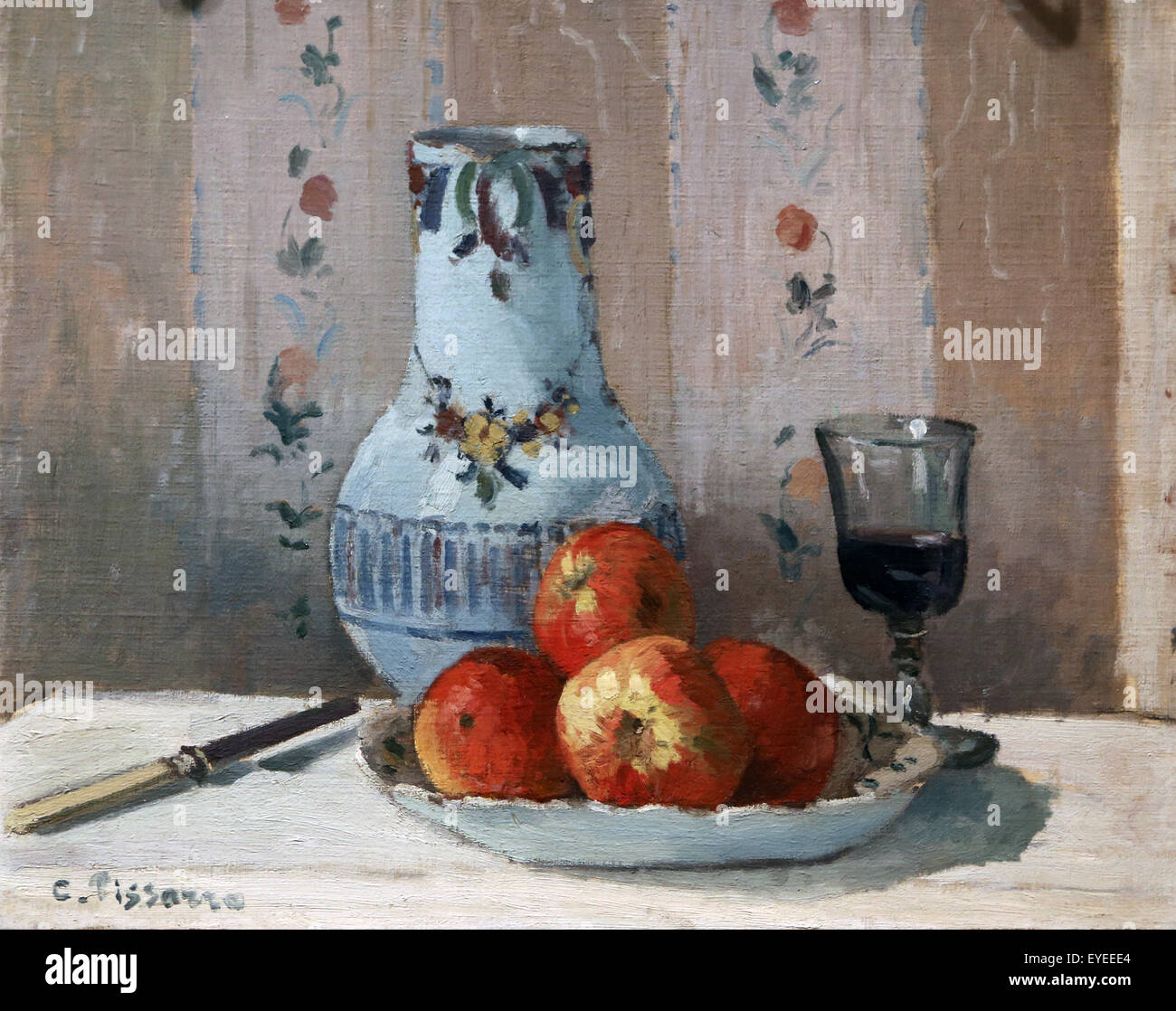 Camille Pissarro (1830-1903). French painter. Still Life with Apples and Pitcher, 1872. Oil on canvas. - Stock Image