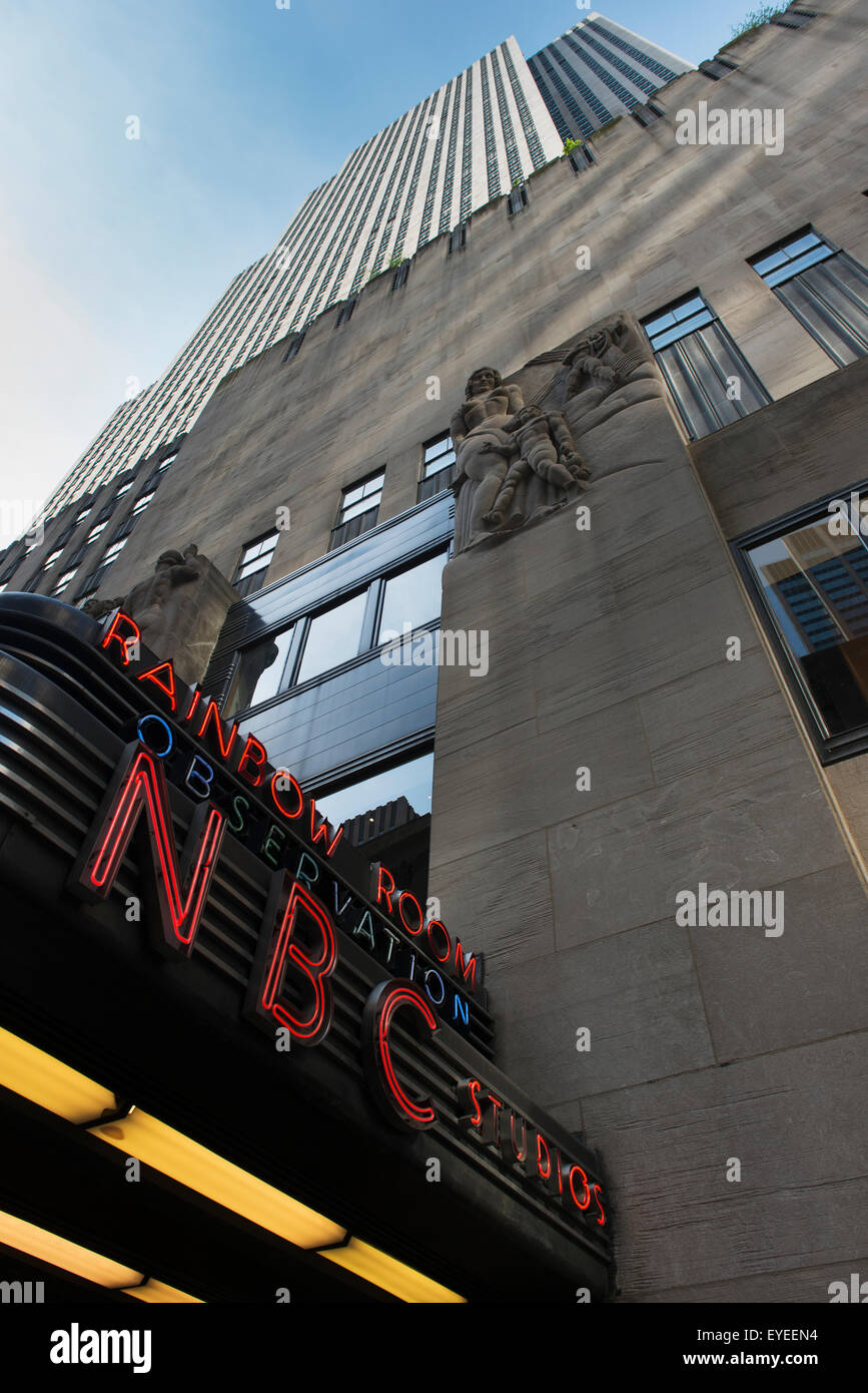 NBC Studios sign and building; New York City, New York, United States of America - Stock Image