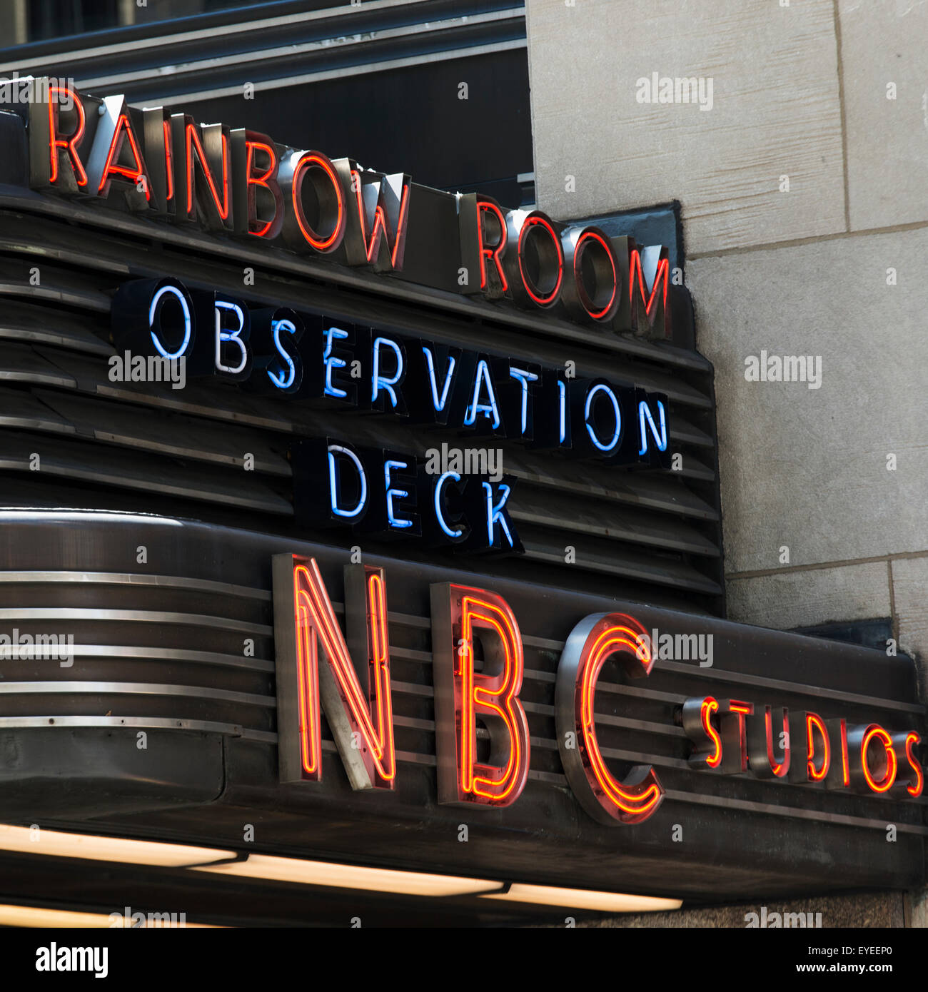 Sign for NBC Studios Rainbow Room observation deck; New York City, New York, United States of America - Stock Image