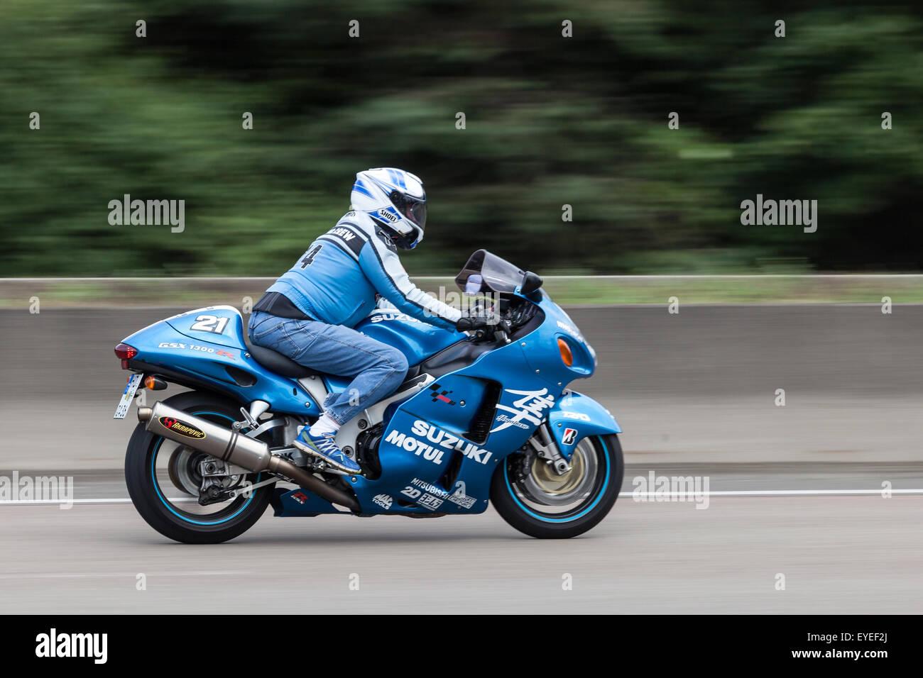 Suzuki Hayabusa GSX 1300 R Motorcycle Moving Fast On The Highway A5 Near  Frankfurt. July