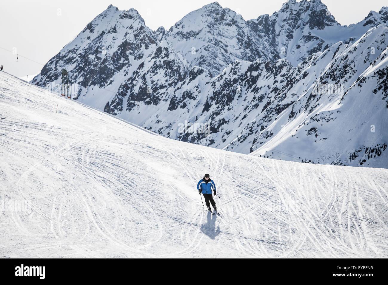 Skiing at Kuhtai; Innsbruck, Tyrol, Austria - Stock Image