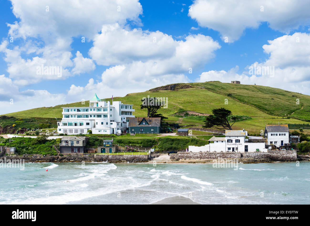 The Burgh Island Hotel and Pilchard Inn on Burgh Island, Bigbury-on-Sea, Devon, England, UK - Stock Image