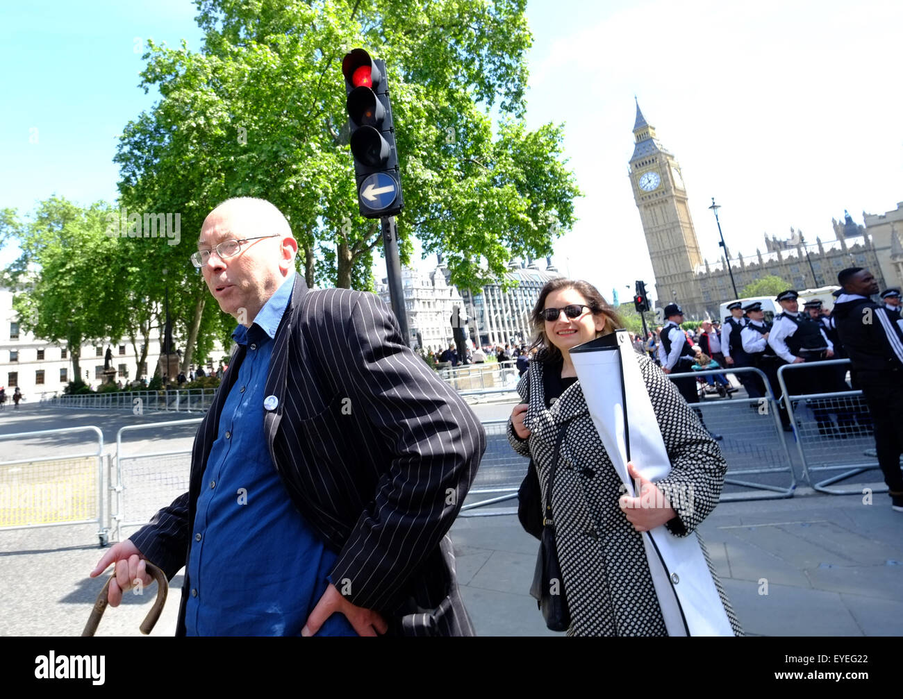Members of Class War are escorted by Police from Parliament Sq during the State Opening of Parliament  Featuring: - Stock Image