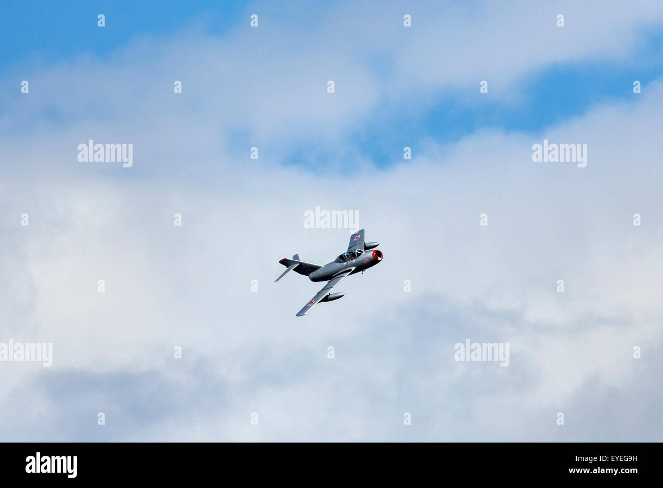 A Mikoyan-Gurevich MiG-15 - one of the first successful swept-wing jet fighters, and achieved fame in the skies - Stock Image