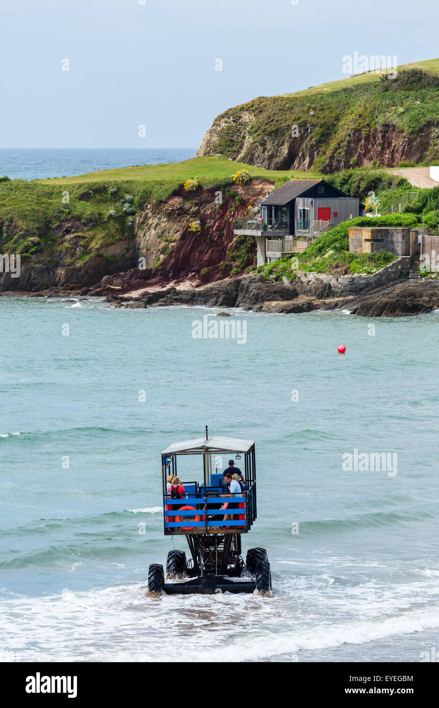 The sea tractor which crosses between Bigbury-on-Sea and Burgh Island at high tide, Devon, England, UK - Stock Image