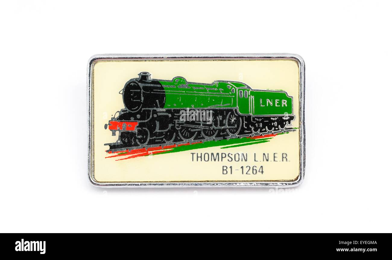 An enamel British steam train badge.LNER Thompson Class B1 1264 Stock Photo