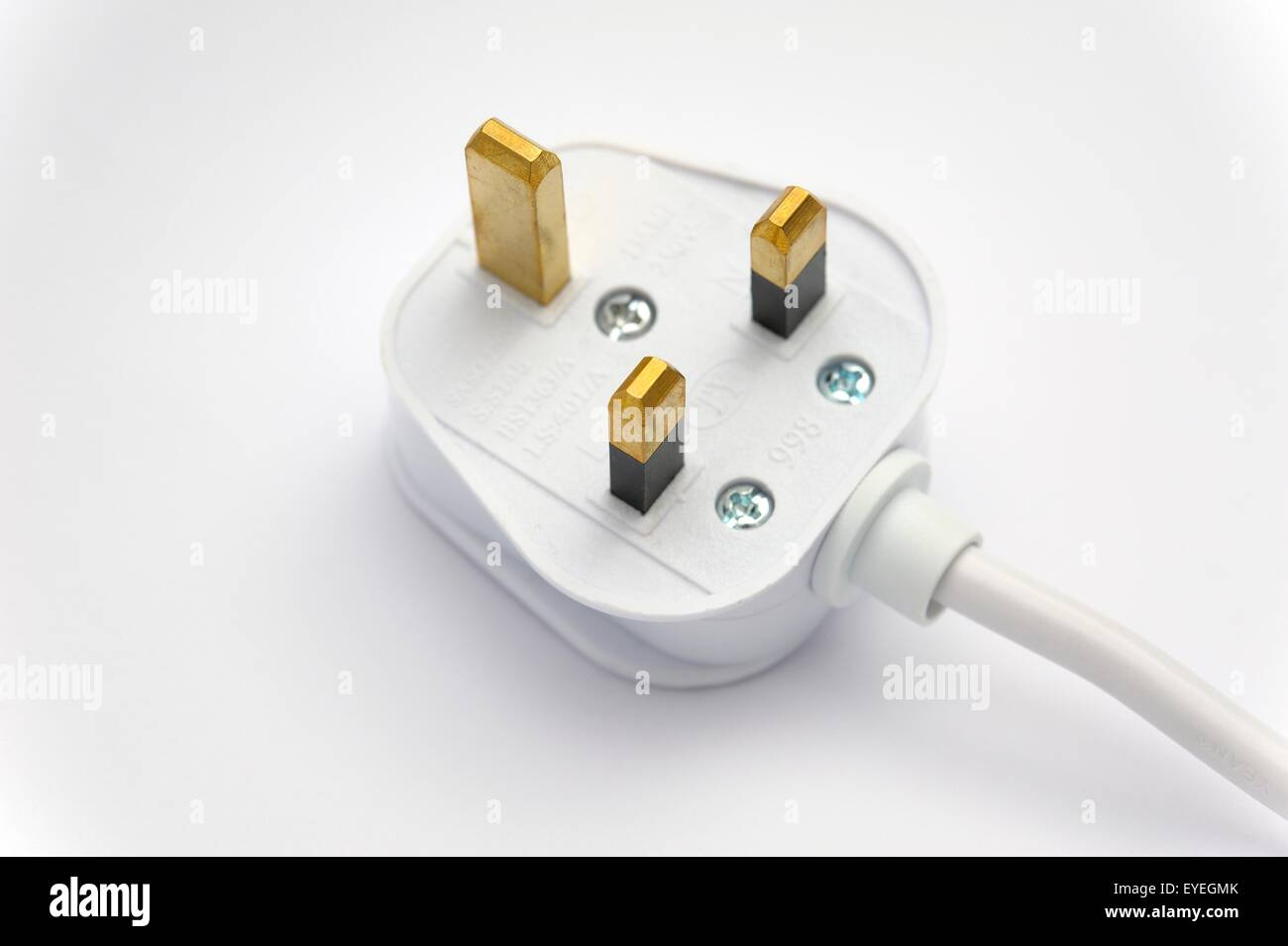 A 13 amp fused domestic 3 pin plug . - Stock Image