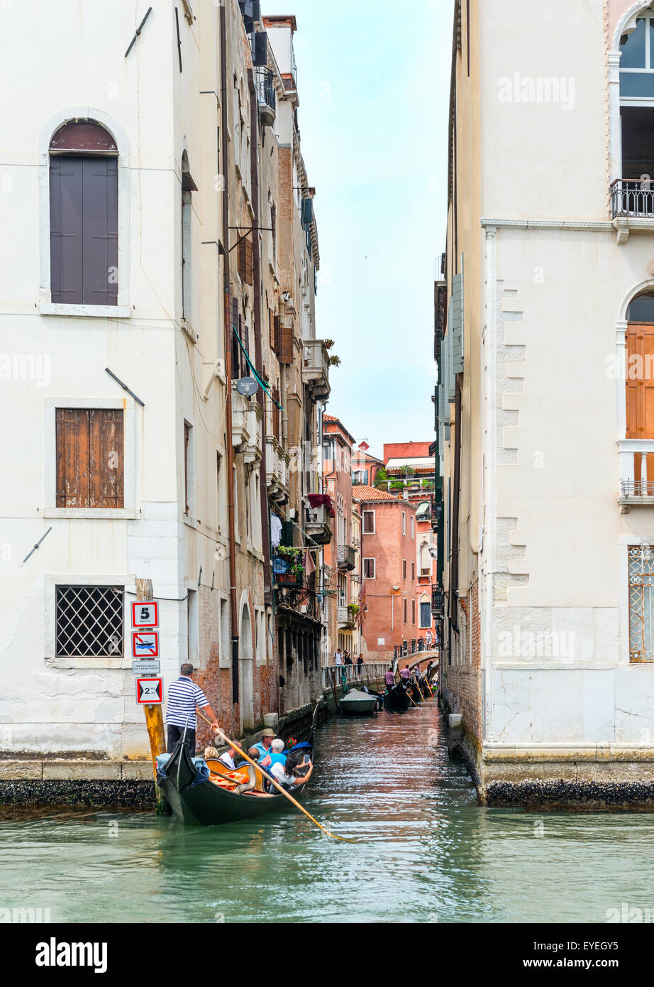 View of a side Canal off the Grand Canal, Venice, Veneto Region, Italy Stock Photo
