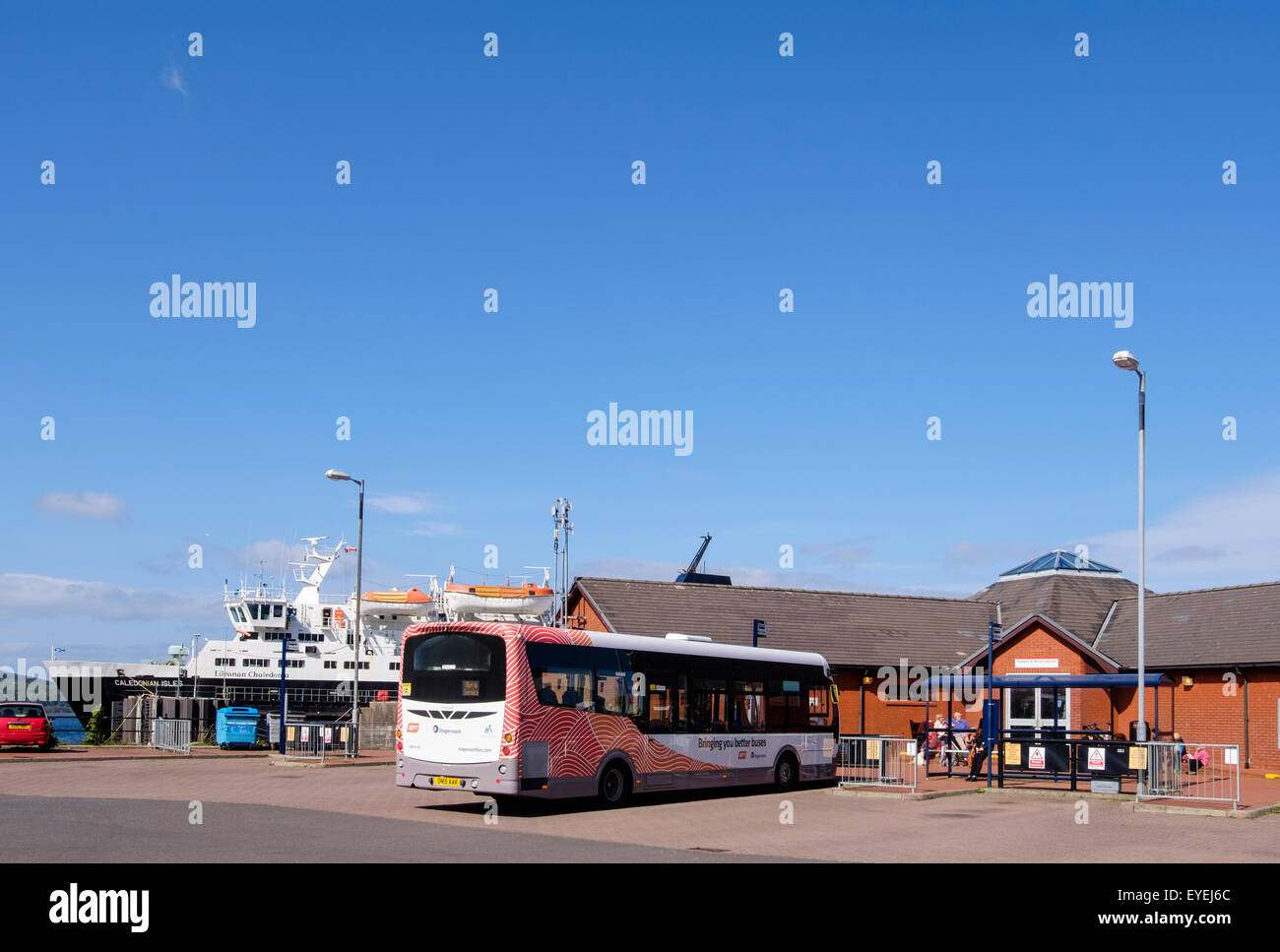Stagecoach bus in the bus station by ferry port in Brodick, Isle of Arran, North Ayrshire, Western Isles, Scotland, - Stock Image
