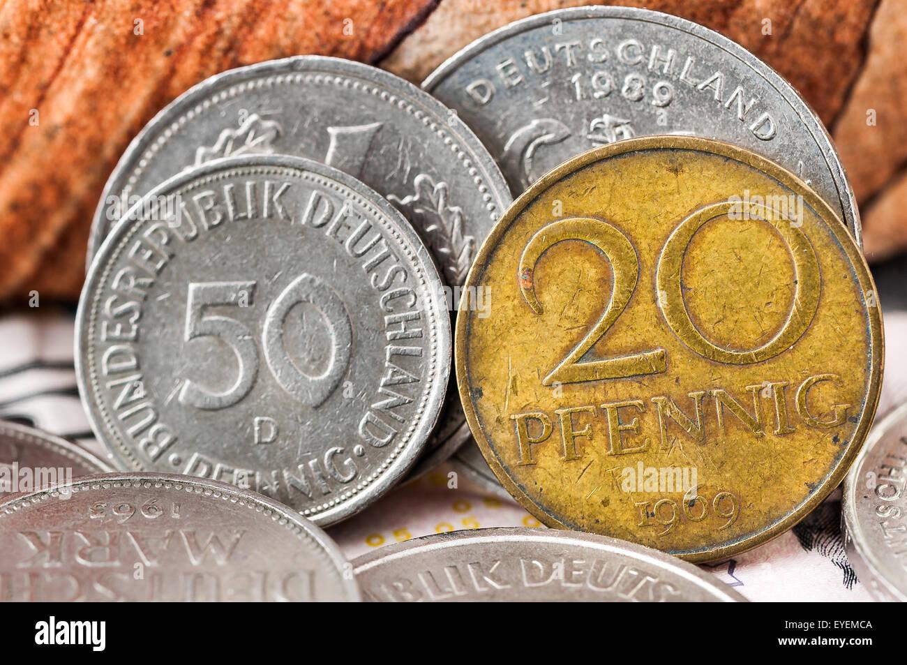 Pfennig Deutsche Mark Bundesrepubik Deutschland, frontside coin - Stock Image