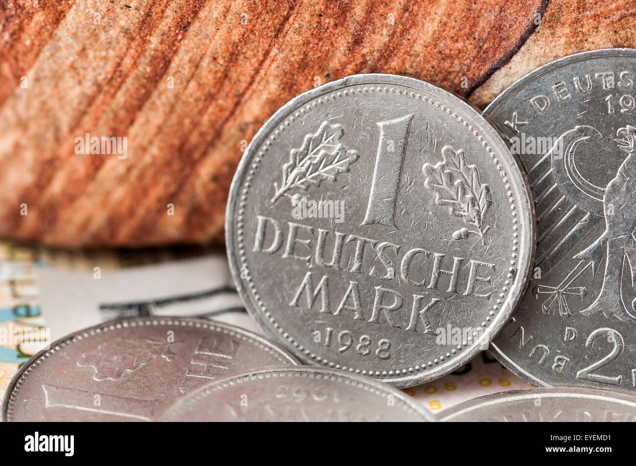 1 one Deutsche Mark Bundesrepubik Deutschland, frontside coin - Stock Image