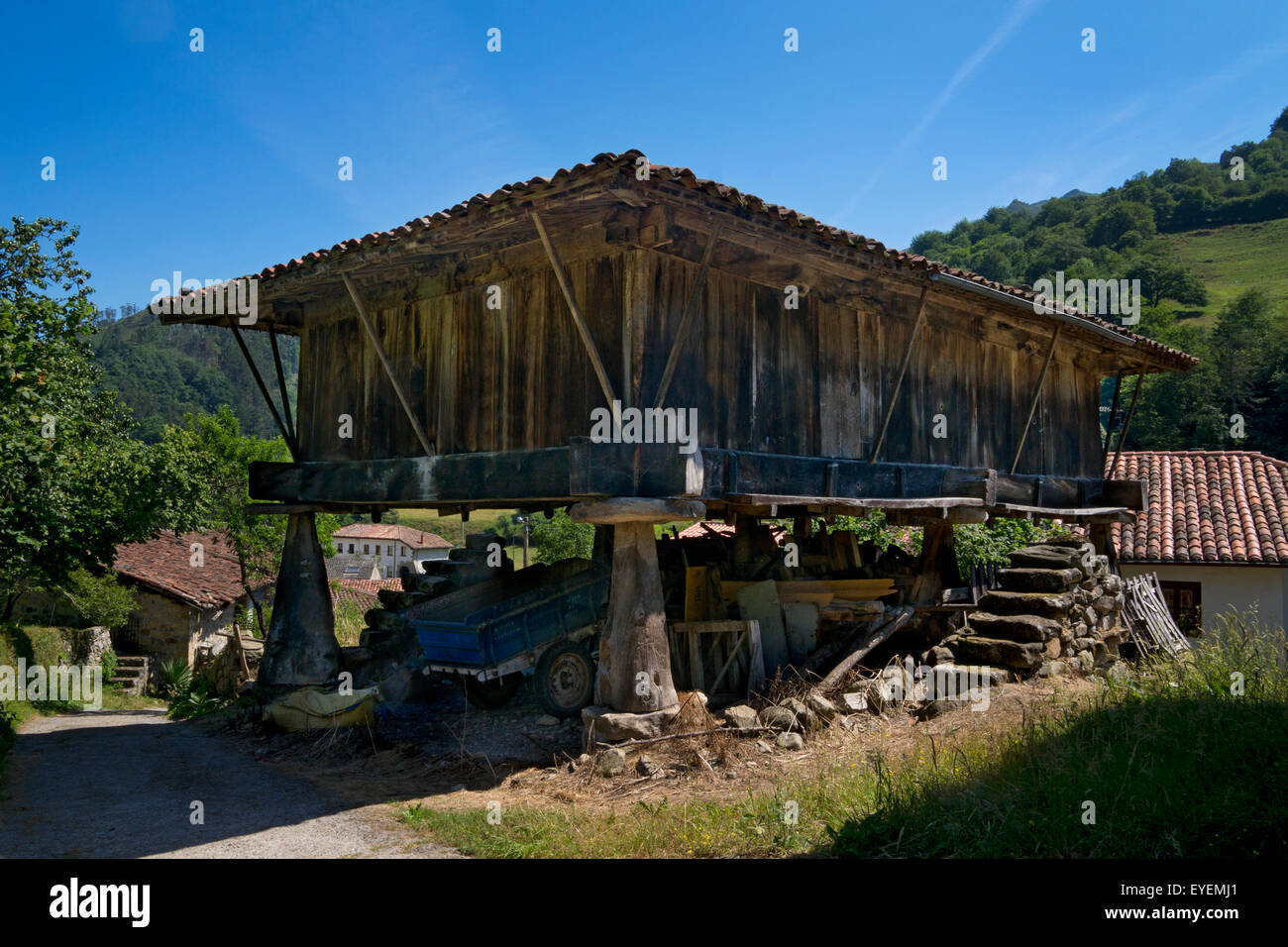 Traditional Old Horreo granary store in rural village of Asturias,Northern Spain - Stock Image