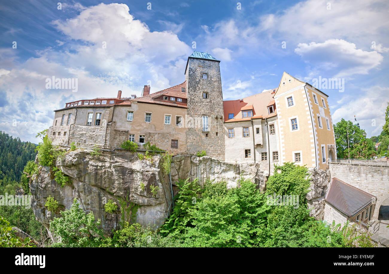 Fisheye lens photo of Hohnstein castle in Saxon Switzerland, Germany. - Stock Image