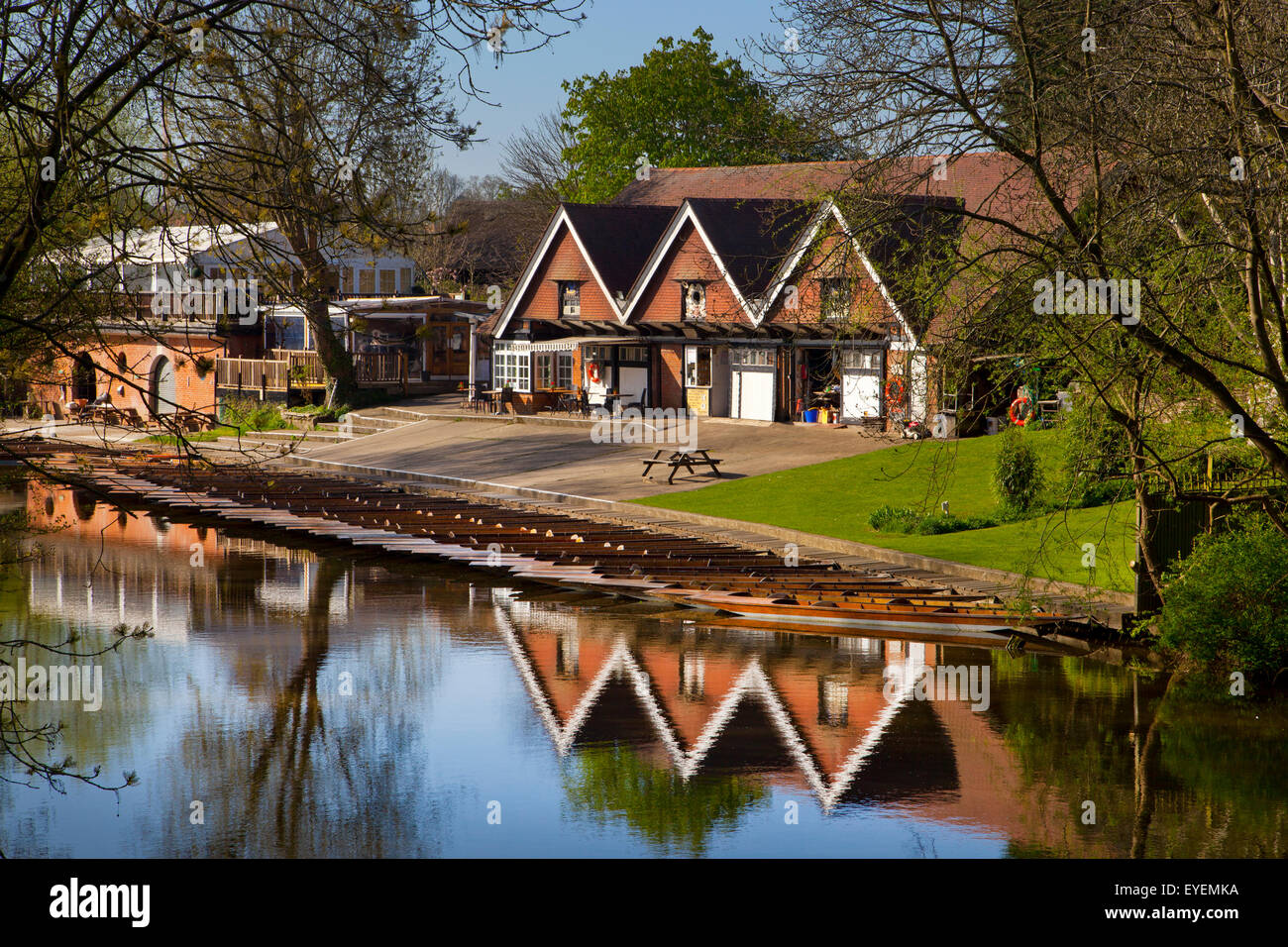 Cherwell Boathouse and punts,Oxford - Stock Image