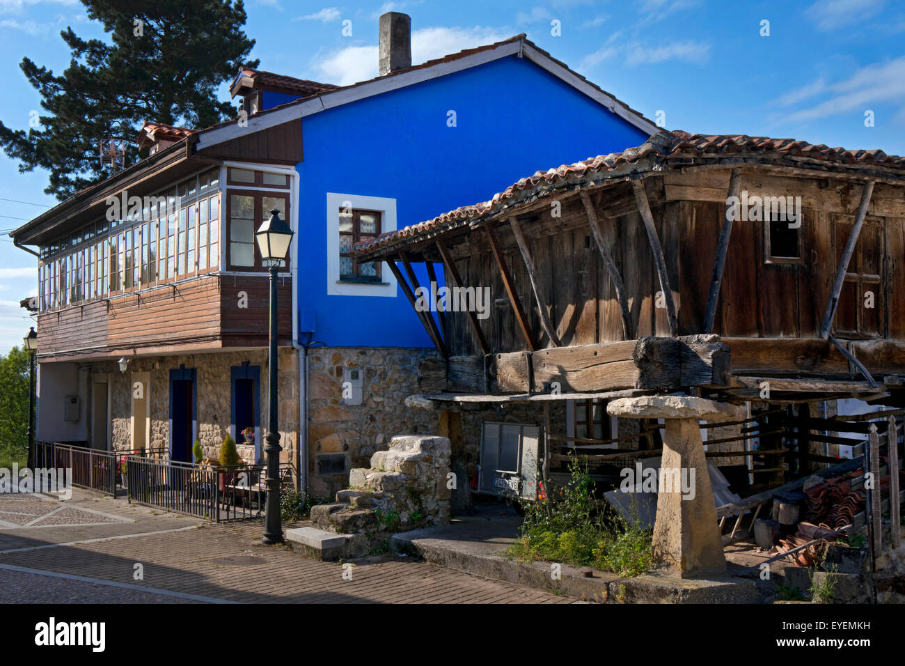 Traditional Buildings of rural village in Asturias,Granary(horreo) Northern Spain - Stock Image