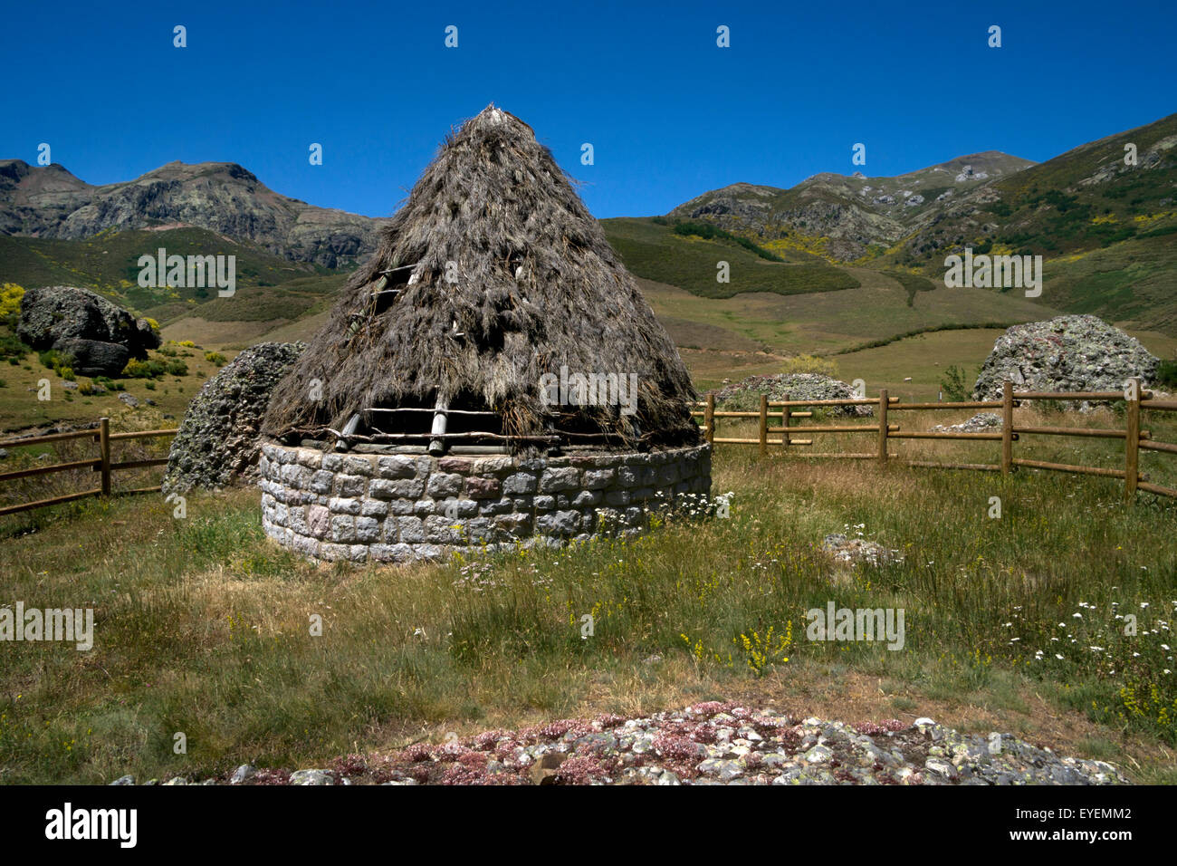 Old Hay stores in high hills of Pics de Europa, Asturias,Northern Spain - Stock Image
