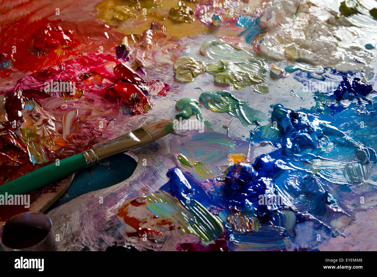 Painters oil palette - Stock Image
