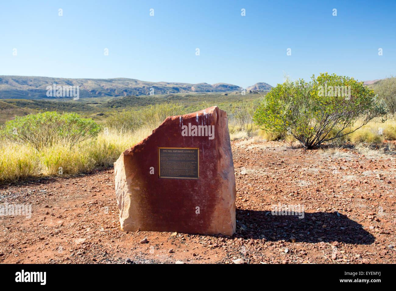A view across the West Macdonnell Ranges at Neil Hargrave Lookout near Alice Springs, Northern Territory, Australia - Stock Image
