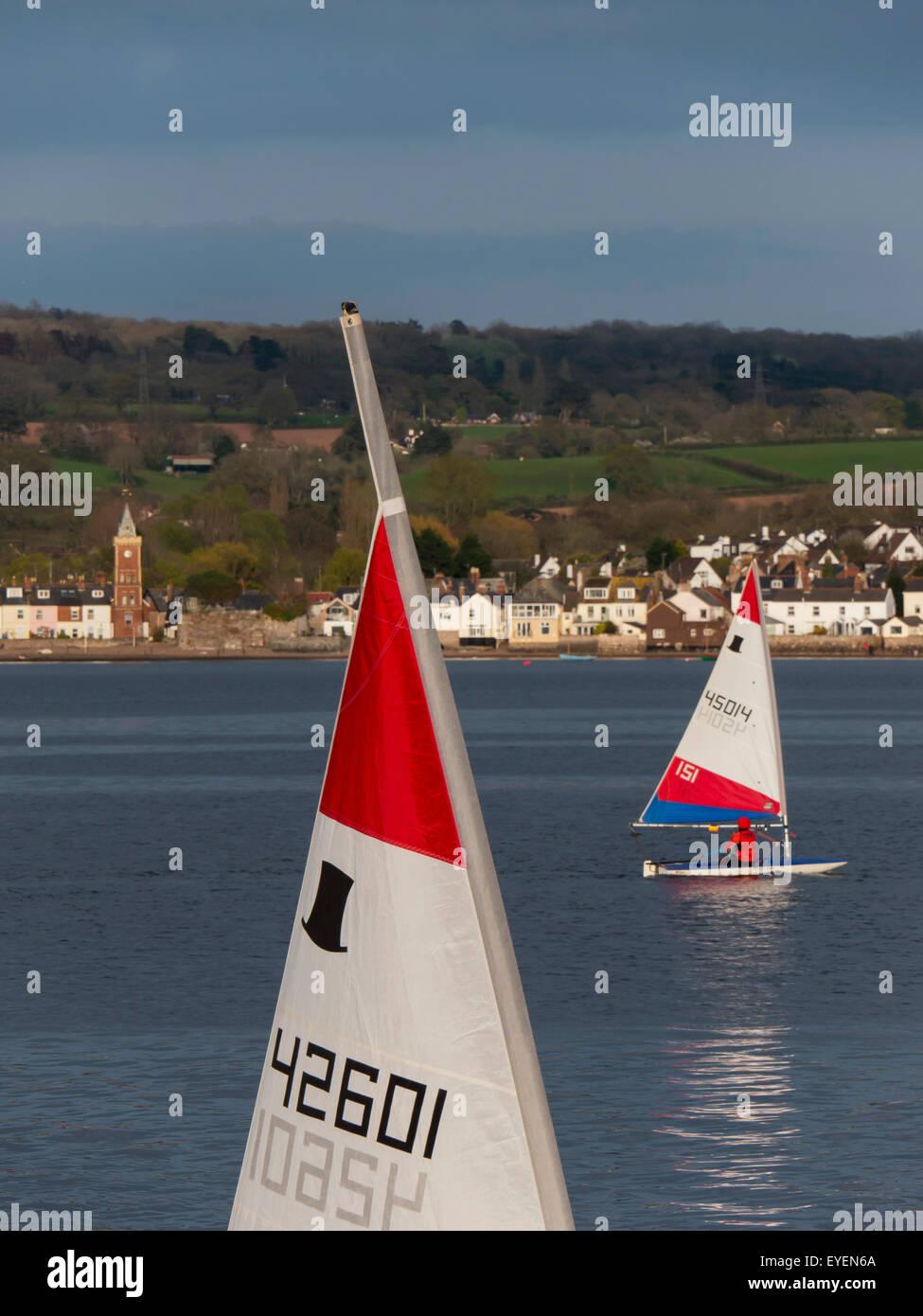 Exe estuary sailing; Lympstone, Devon, England - Stock Image