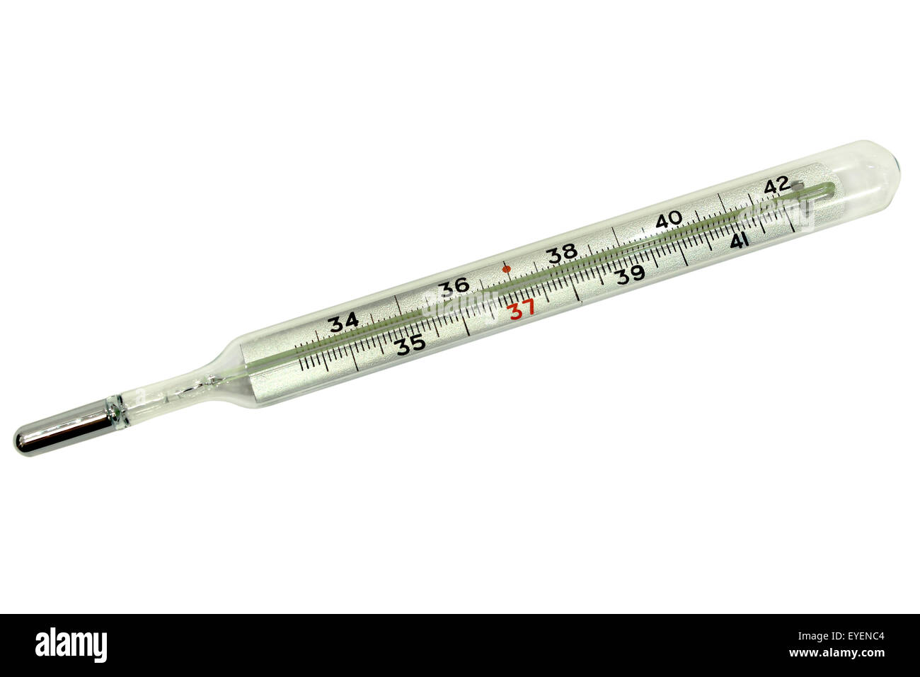 Medical mercury thermometer to measure the temperature of the body in isolation on a white background. - Stock Image