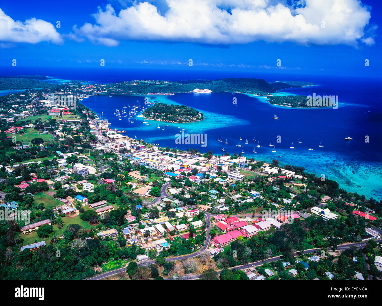 aerial view over port vila  the capital of vanuatu  efate cloud motion vectors cloud vector image