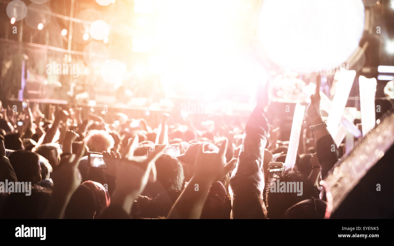 De-focused concert crowd,concert background. - Stock Image
