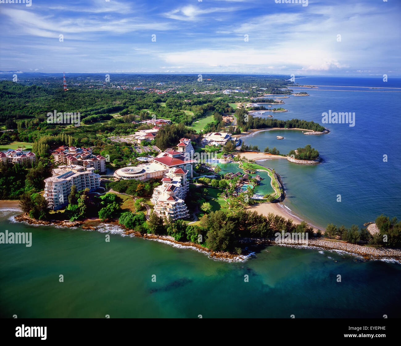 Aerial view of the Empire Hotel and Country Club; Bandar Seri Begawan, Brunei - Stock Image