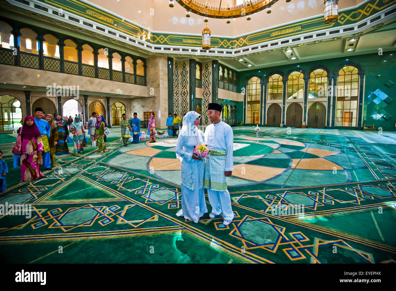 Wedding inside Jame'Asr Hassanil Bolkiah Mosque; Bandar Seri Begawan, Brunei - Stock Image
