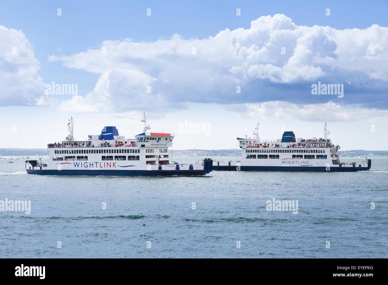Two Wightlink Car Ferries pass on the Solent Stock Photo