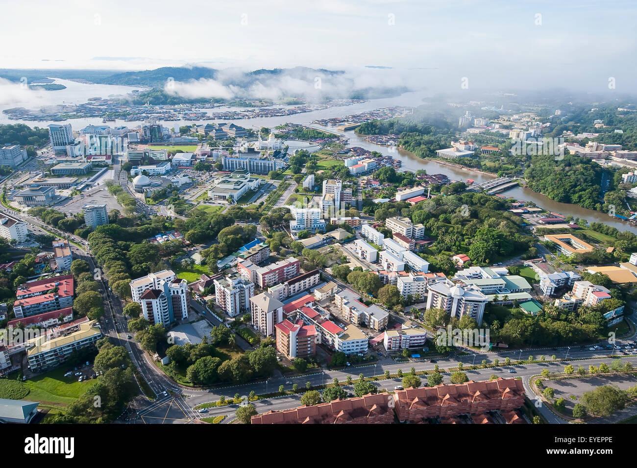Aerial view of Bandar Seri Begawan, the capital of Brunei; Bandar Seri Begawan, Brunei - Stock Image
