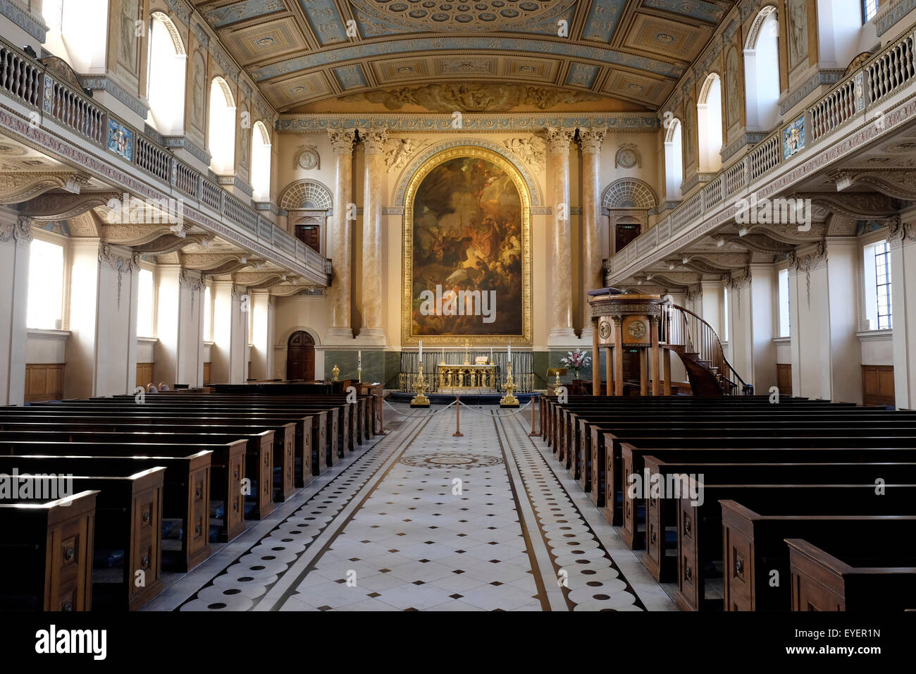 A wide view of the interior of the chapell at the old royal naval college - Stock Image