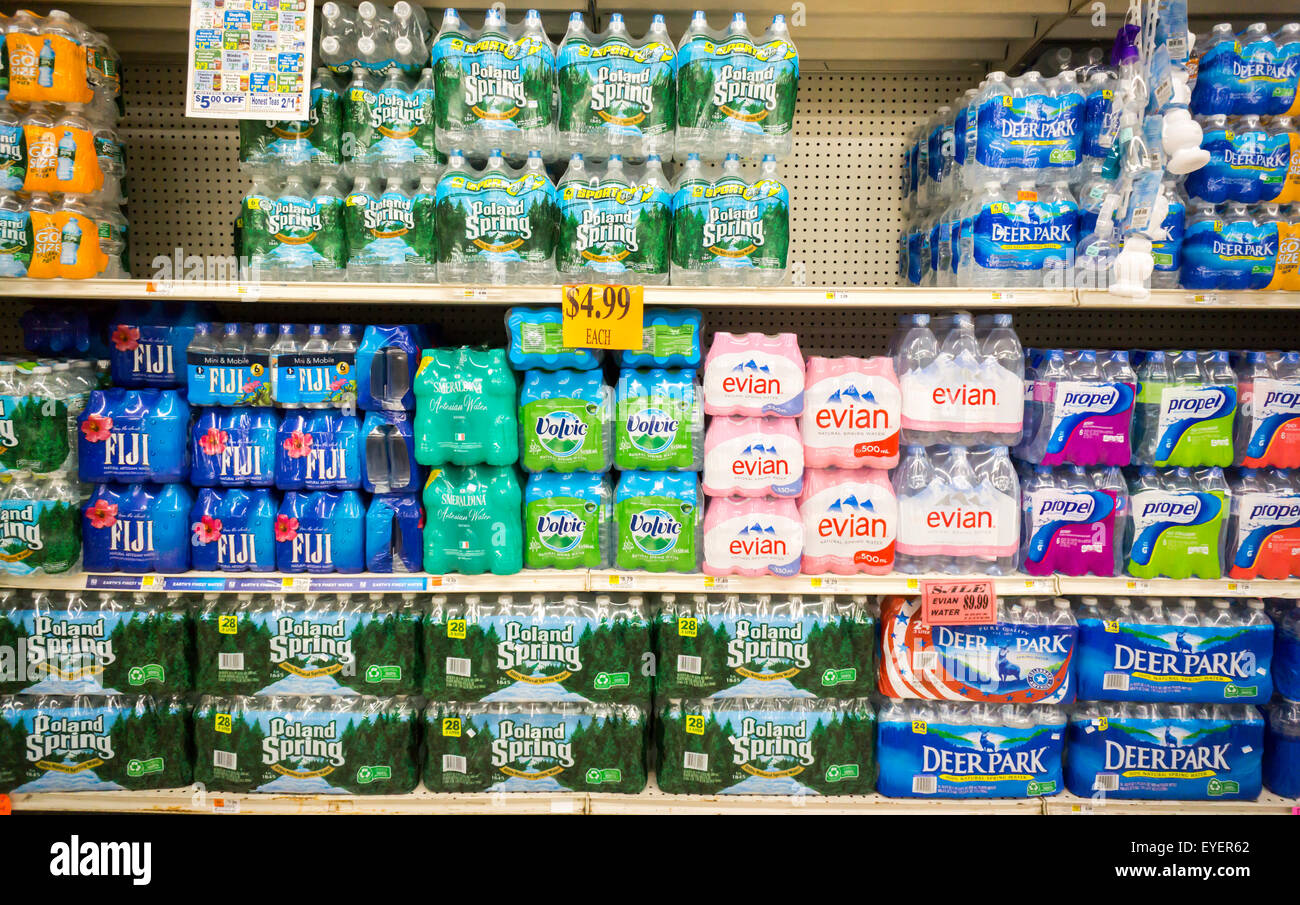 A display of bottled water is seen in a supermarket in New York on Tuesday, July 21, 2015. (© Richard B. Levine) - Stock Image