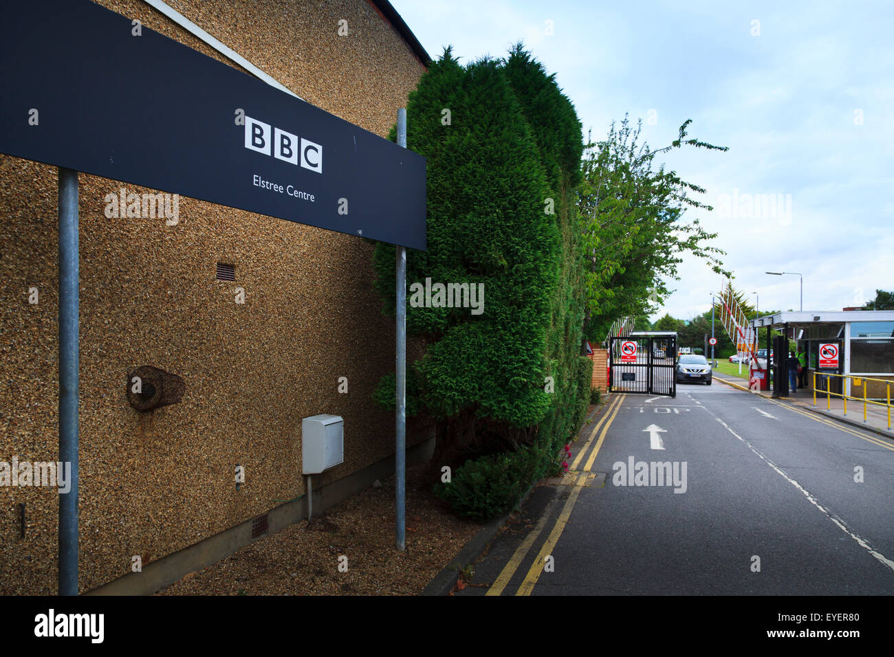 BBC Elstree Studios entrance and sign Stock Photo
